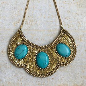 Handmade Sequence Turquoise Statement Necklace